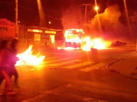 Bus quemado en La Florida