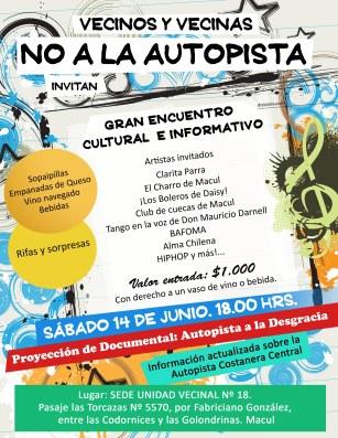 Encuentro cultural_ sabado 14 de junio_ NO A LA AUTOPISTA